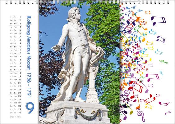 Musik-Geschenk Komponisten-Kalender 65 im September.