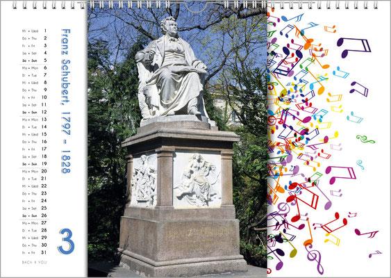Musik-Geschenk Komponisten-Kalender 65 im März.