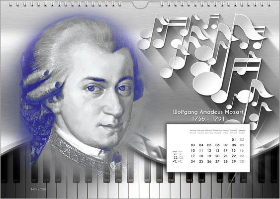 Musik-Geschenk Komponisten-Kalender 52 im April.