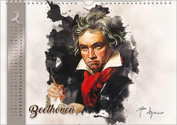 Musik-Geschenk Komponisten-Kalender 61 im Februar.