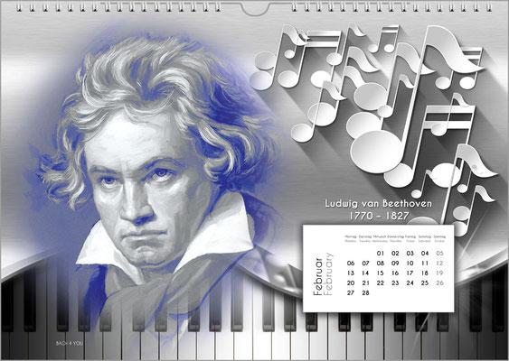 Musik-Geschenk Komponisten-Kalender 52 im Februar.