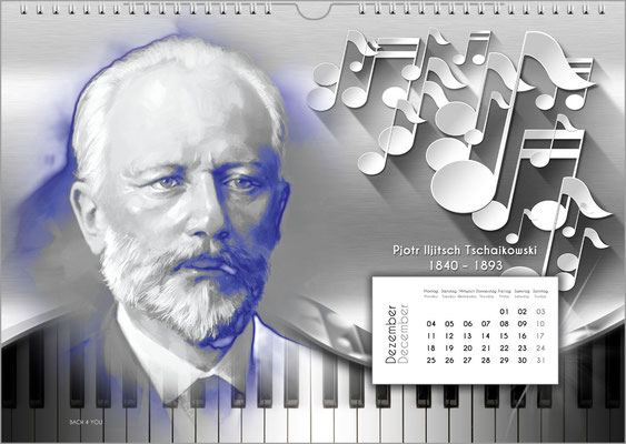 Musik-Geschenk Komponisten-Kalender 52 im Dezember.