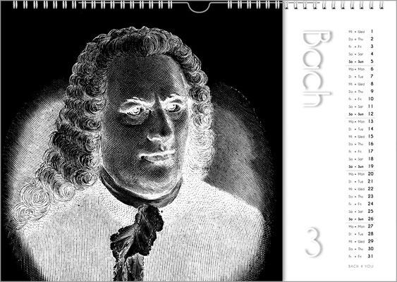 Musik-Geschenk Komponisten-Kalender 50 im Februar.