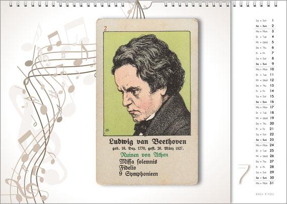 Musik-Geschenk Komponisten-Kalender 66 im Juli.