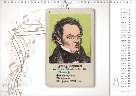 Musik-Geschenk Komponisten-Kalender 66 im August.