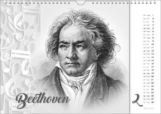 Musik-Geschenk Komponisten-Kalender 63 im Februar.