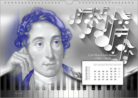 Musik-Geschenk Komponisten-Kalender 52 im September.
