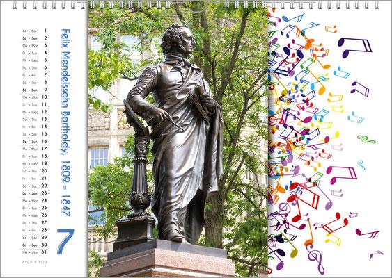 Musik-Geschenk Komponisten-Kalender 65 im Juli.