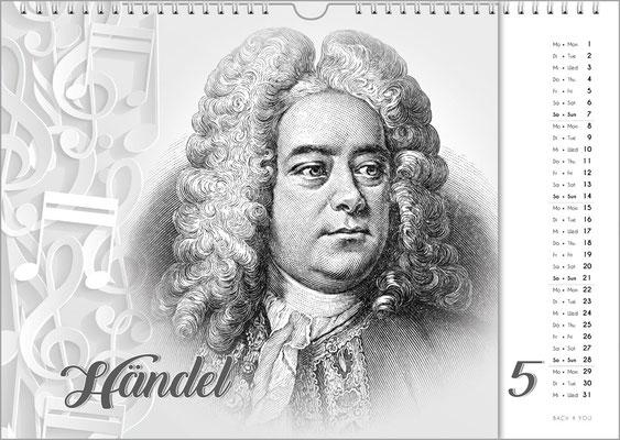 Musik-Geschenk Komponisten-Kalender 63 im Mai.