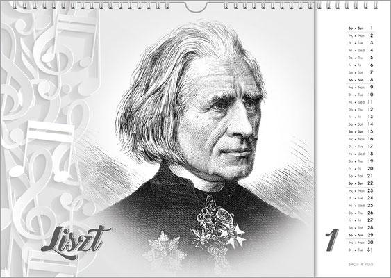 Musik-Geschenk Komponisten-Kalender 63 im Januar.