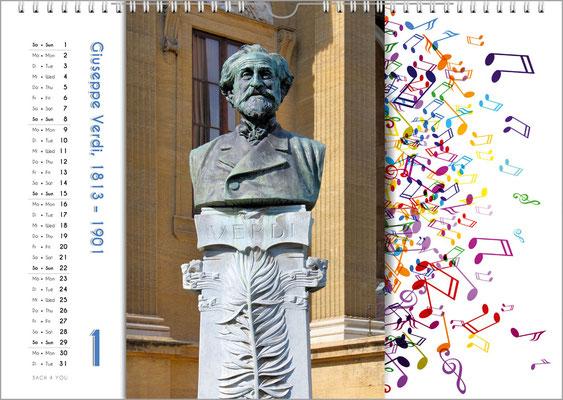 Musik-Geschenk Komponisten-Kalender 65 im Januar.