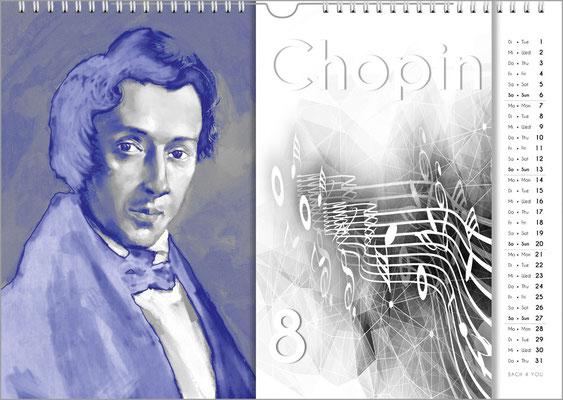 Musik-Geschenk Komponisten-Kalender 57 im Juli.