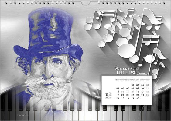 Musik-Geschenk Komponisten-Kalender 52 im Juni.