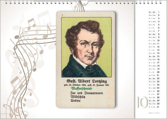 Musik-Geschenk Komponisten-Kalender 66 im Oktober.