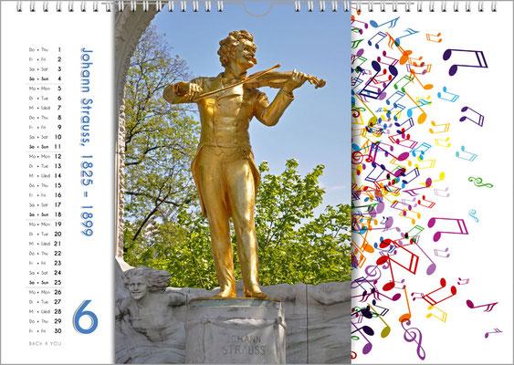 Musik-Geschenk Komponisten-Kalender 65 im Juni.