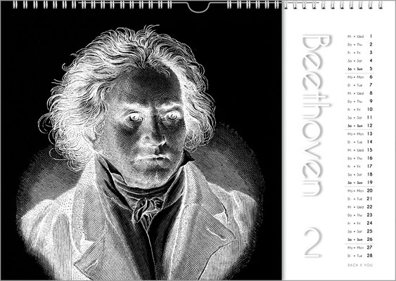 Musik-GeschenkKomponisten-Kalender 50 im Januar.