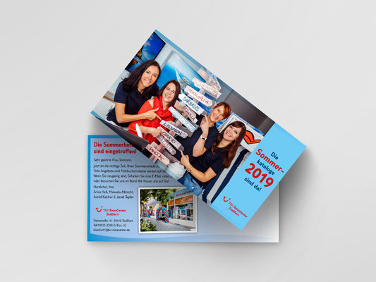 Postkarte zur Ankündigung des Sommerkataloges