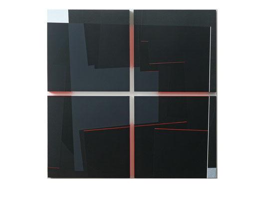 kreuz in rot  82x82cm  acryl auf hartfaser 2015