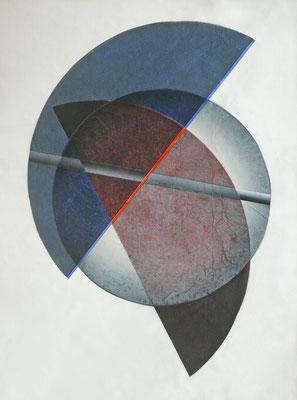 2kreisanschnitte mit kreis und diagonale (rot.blau) 70x100cm farbholzdruck 2016