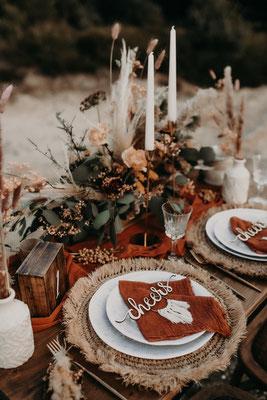 Tablesetting Boho Wedding Tischdeko Boho Hochzeit terrakotta rust