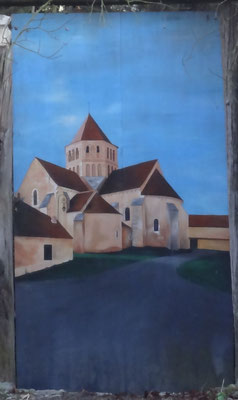 Une peinture de Françoise Delavault située dans une petite impasse de la rue Paul Boursin à Laroche Saint Cydroine