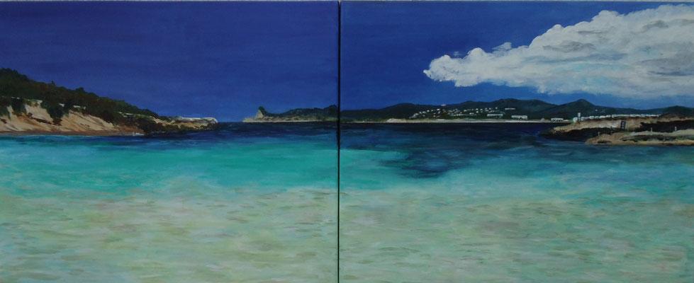 Blau, Diptychon (2x 38x46 cm)