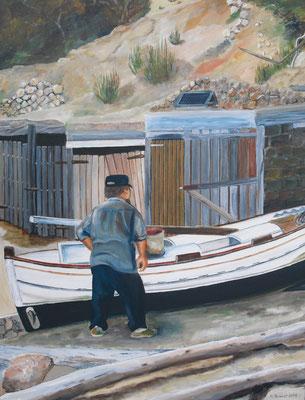 Fischer mit Boot(8ox60 cm)