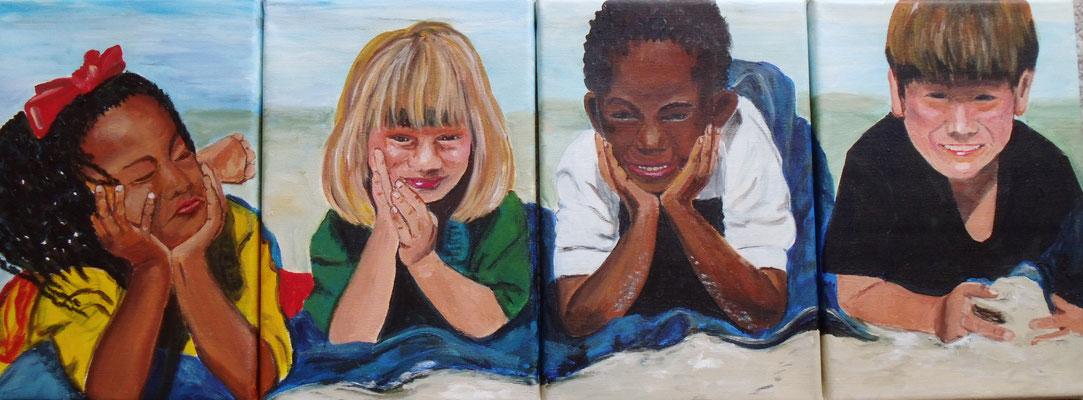 En la Playa (4x 30x20 cm)