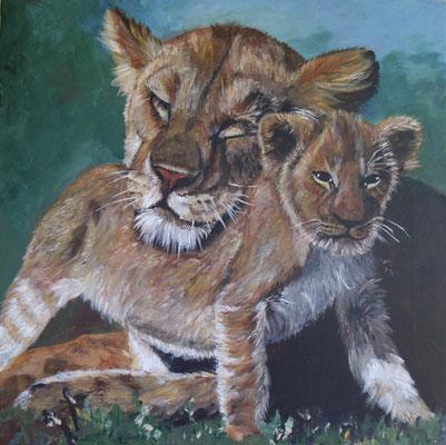 Löwenliebe (40x40 cm)