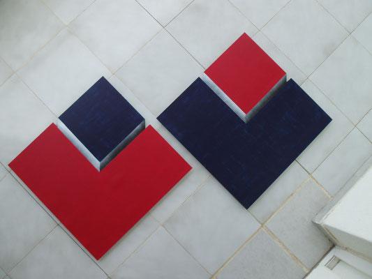 Cubos Azul-Rojo, Drehbild (2x 60x60cm)