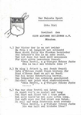 """Textmanuskript """"Der Feinste Sport"""" von Otto Sirl gewidmet dem C.A.S."""