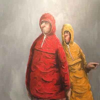 Thomas Bossard, artiste peintre, Les K-way, huile sur toile, 80 x 80 cm