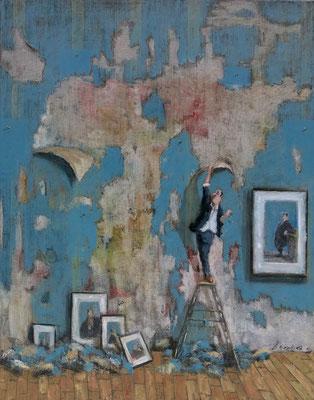 Thomas Bossard, artiste peintre, Le détapisseur, huile sur toile, 92 x 73 cm