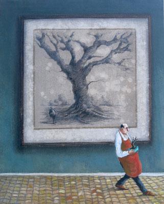 Thomas Bossard, artiste peintre, Le Bonsaï, huile sur toile, 92 x 73 cm