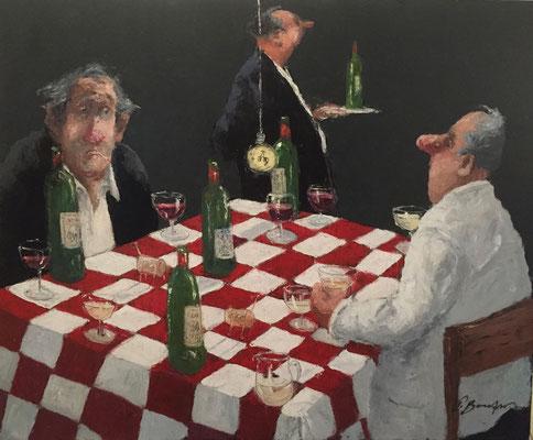 Thomas Bossard, artiste peintre, Partie d'échec, huile sur toile