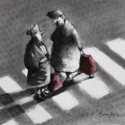 Thomas Bossard, Artiste peintre, Retour de marché, 20 x 20 cm, fusain, pierre noire et pastel