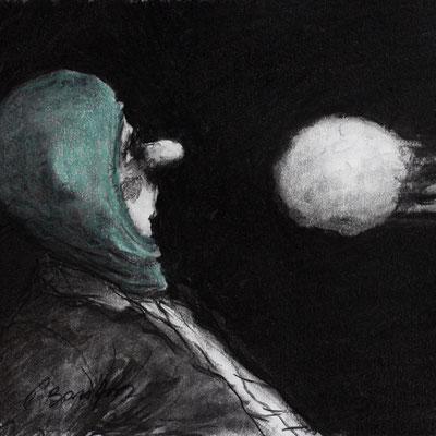 Thomas Bossard, Artiste peintre, Boule de neige, 20 x 20 cm, fusain, pierre noire et pastel