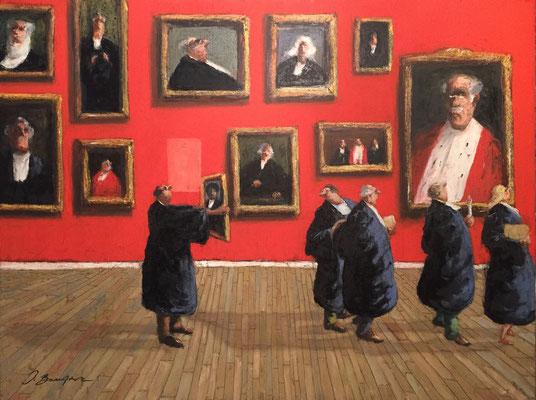 Thomas Bossard, artiste peintre, Les avocats, huile sur toile