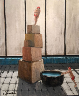 Thomas Bossard, artiste peintre, Le grand plongeon, huile sur toile, 73 x 60 cm