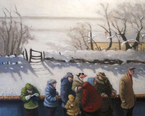 Thomas Bossard, artiste peintre, Hiver, huile sur toile, 65 x 81 cm