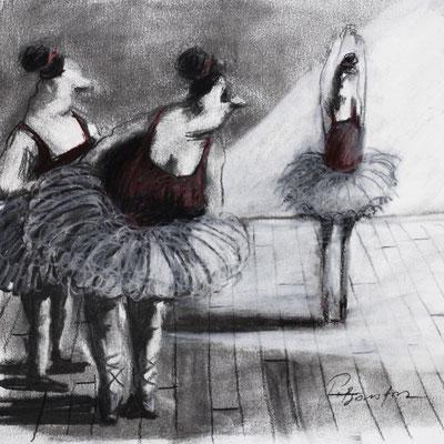 Thomas Bossard, Artiste peintre, Les danseuses, 20 x 20 cm, fusain, pierre noire et pastel