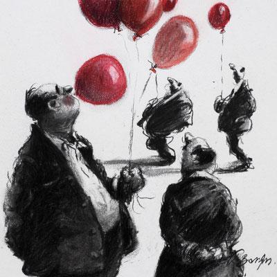 Thomas Bossard, Artiste peintre, Le gonfleur de ballons, 20 x 20 cm, fusain, pierre noire et pastel