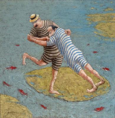 Thomas Bossard, artiste peintre, Pince me pince moi, huile sur toile, 90 x 90 cm