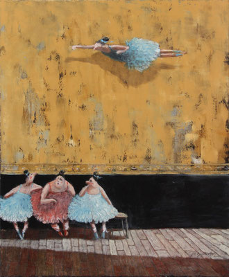 Thomas Bossard, artiste peintre, Les danseuses, huile sur toile, 81 x 65 cm