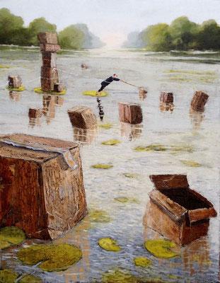 Thomas Bossard, artiste peintre, Le déménagement, huile sur toile, 92 x 73 cm