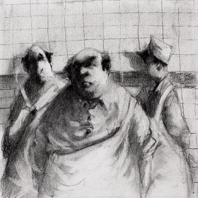 Thomas Bossard, Artiste peintre, Les bouchers, 20 x 20 cm, fusain, pierre noire et pastel