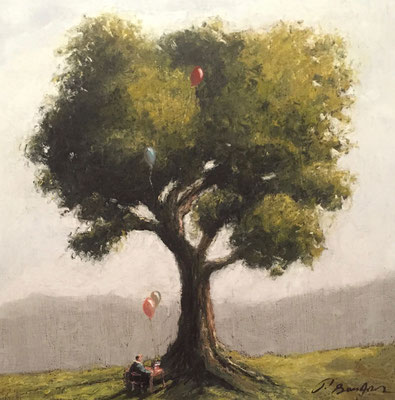 Thomas Bossard, artiste peintre, L'arbre, huile sur toile, 50 x 50 cm