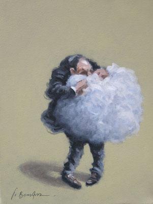 Thomas Bossard, artiste peintre, L'homme au nuage n°3, huile sur toile, 27 x 35 cm