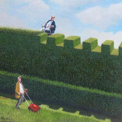 Thomas Bossard, artiste peintre, La tondeuse rouge, huile sur toile, 100 x 100 cm