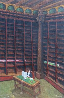 Thomas Bossard, artiste peintre, La bibliothèque rose, huile sur toile, 120 x 80 cm